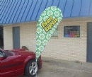 Car foot teardrop banner